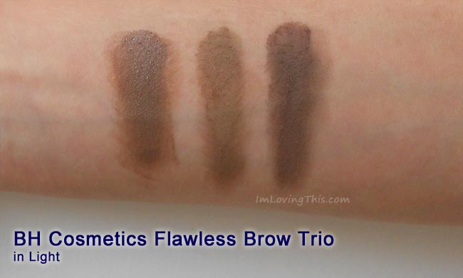 BH Cosmetics Flawless Brow Trio Light Swatch Review