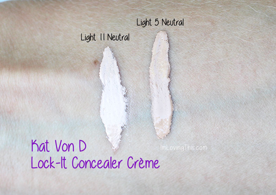 Kat Von D Lock-It Concealer Creme Swatch Review
