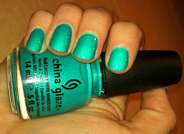 china glaze turned up turquoise neon